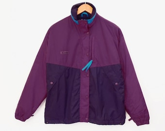 80's COLUMBIA fleece-lined jacket // color block purple windbreaker // women's size M L