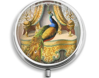 Pill Box Pill Case Peacock Chambre Royale Pill Holder Pill Container Trinket Box PillBox Vitamin Holder Medicine Box Mint Tin Gifts For Her