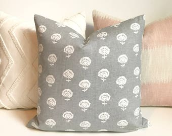 Double sided Gray and White boho floral block print Decorative Pillow Cover
