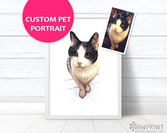 Cat Portrait - Custom pet portrait of your Kitten - Printed digital painting - Personalised print of your cat