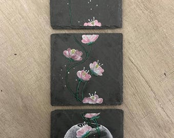 Floral triptych painting