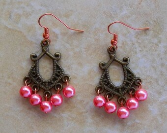 Pink Rose Glass Pearl Dangle Chandelier Earrings With Copper Ear Wires