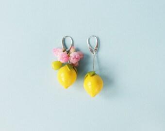 Mismatched lemon earrings  - fruit jewelry - contemporary earrings - citrus earrings - fruit earrings - large earrings - statement earrings