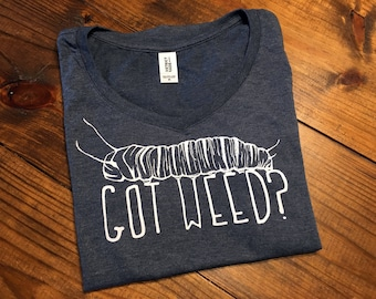 GOT WEED? Monarch Butterfly Caterpillar - Milkweed - Heather Navy V-Neck Womens T-Shirt Size M - Super Soft - Smiling Snake