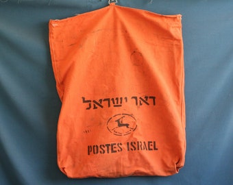 israel post office bag very large 1980's for letters Orange color