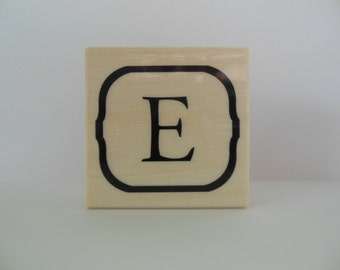 Letter E Rubber Stamp - Blooming Petals Collection - Alphabet Letter E Stamp