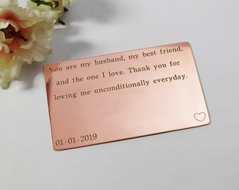 Wallet Card Insert Engraved wallet card Copper gift for her Anniversary Wedding Personalized Gift Husband Boyfriend Love Poem