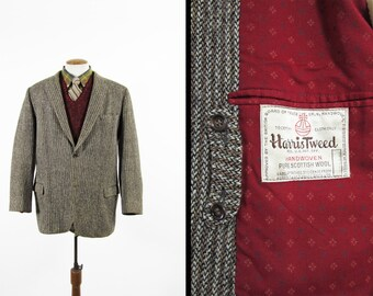 Vintage 50s Harris Tweed Sport Coat Herringbone Rust Stripe Wool Jacket - Size 42 L