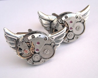 Steampunk Cufflinks Vintage Watch Movements Gothic Victorian Mechanical Owl Rustic Silver Men's Accessories Jewelry Cosmic Firefly