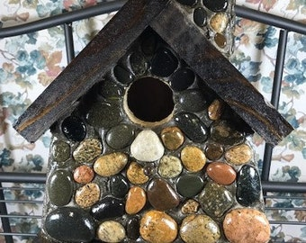 Petoskey Stone Birdhouse with Lake Superior Stones, Indoor or Outdoor, Ideal for Chickadees and Wren nesting birds