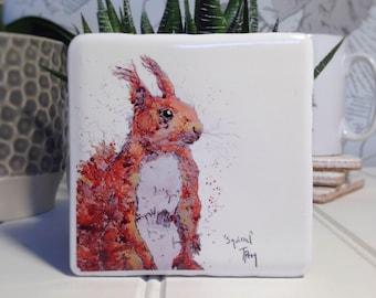 Coaster, Red Squirrel, Animal Coaster, Ceramic, Tile coaster, hand made, Decor, Interior Kitchen, Animals, British Wildlife, Country