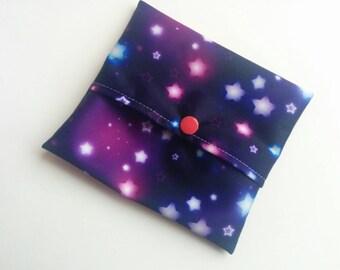 Pink Stars, Purple Galaxy Pad wrap, Mini Wet bag, Small Wet bag, Wet Bag, Cloth Pad Wet Bag, Pad wrapper, snack bag