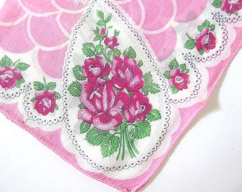 Vintage Handkerchief Hot Pink Roses with Scallop Design