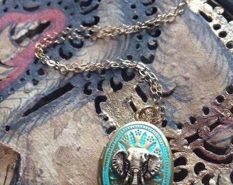 Bohemian Turquoise Miniature Elephant Locket, Turquoise Necklace, Elephant Charm, Good Luck Charm, Elephant Gift