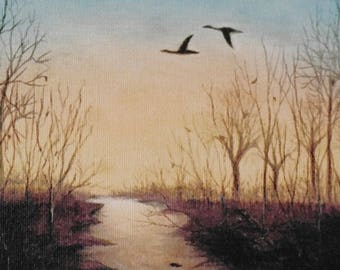 Winter landscape, wrapped canvas print. wildlife art, geese, 'Dusk-Late Winter', woodland stream