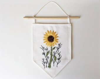 Sunflower embroidery. Fabric banner. Cee Stitchery embroidered wall hanging. Stitched decor. Floral art. Small wall art. Black vines.