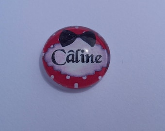 """Cabochon funny writing """"huggable"""" by 20 mm round domed"""