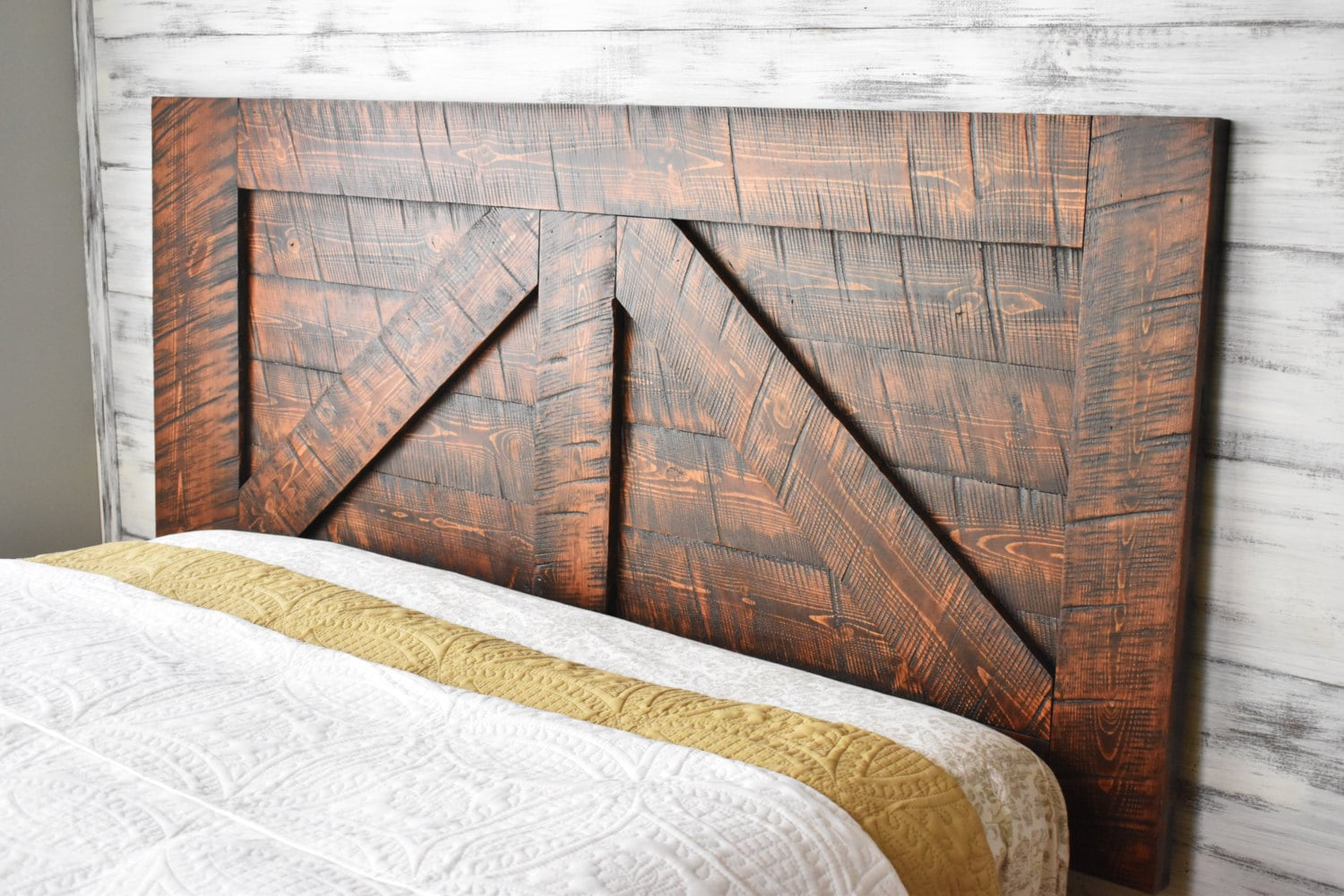 Barn Door Headboard Queen Wood Headboard Wall Mounted