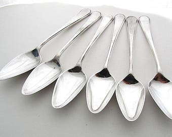Set Of Six Vintage Grapefruit Spoons, Pointed Teaspoons, English Silver Plated Spoons, Matching Spoons