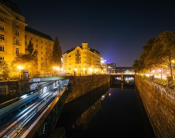 Buildings along and train bridge over Wienfluss at night, in Vienna, Austria. Photo Print, Metal, Canvas, Framed.