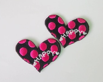 "Set of 2 Pieces Embroidered Black/Pink Heart Iron on Patch (1 1/2"" x 1 1/8"")"