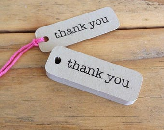 Mini Kraft Thank You Tags Typewriter Gift Packaging Wedding