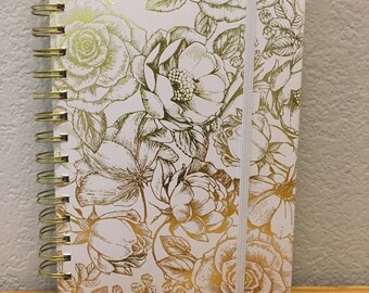 Gold Foil Flower Spiral Notebook