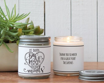 It Takes a Big Heart to Shape Little Minds Candle Greeting - Teacher Gift | Gift for Teacher | End of Year Gift | Teacher Appreciation Gift