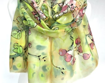Hand Painted Scarf. Yellow Silk Scarf. Gift Idea for Her. Silk Painting. Bridesmaids Gift. Fashion Elegant Scarf Shawl. 18x71in. MADE2ORDER