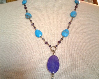 Free Shipping Natural stone and Swarovski Crystal Necklace