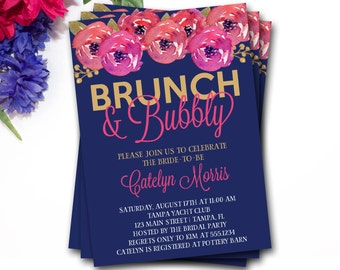 Brunch And Bubbly Bridal Shower Invitation, Brunch And Bubbly Invitation, Mimosas Bridal Shower Invitation, Gold Invite, DIY Printable