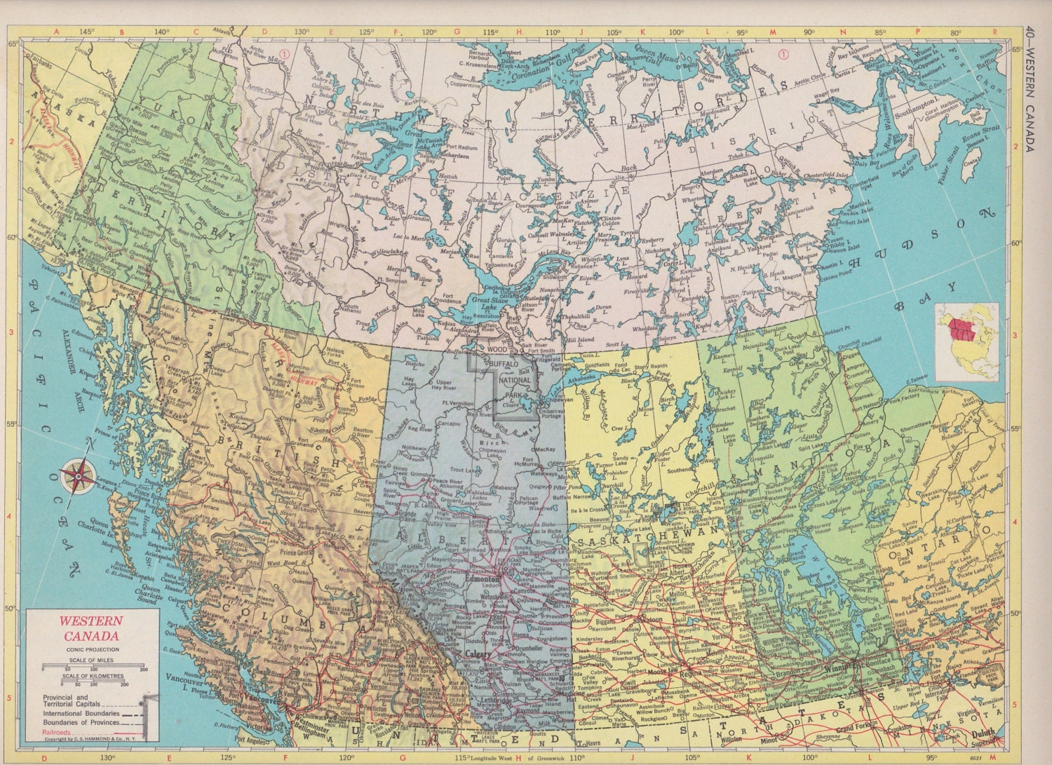 Vintage Map Art Map of Western Canada 1950s Mid Century Map Print