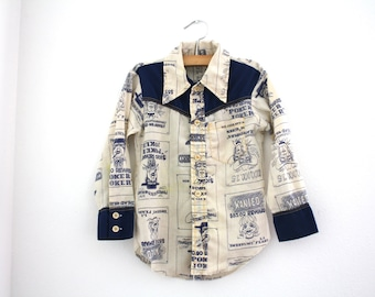 Vintage Boys Wanted Poster Western Style Cowboy Shirt, Size 5