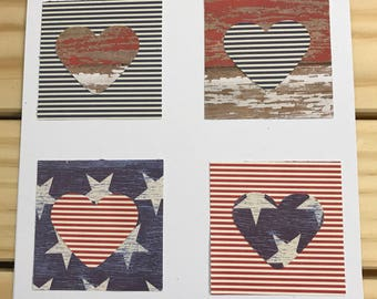 USA Patriotic Card/Red/White/Blue Hearts &