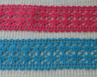 Turquoise Blue or Cranberry  Pink Lace Trimming. Both edges small scallops.   A heavier thread lace with many uses.