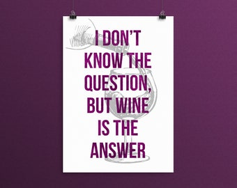 Wine Kitchen Print, Wine Lover Gift, Purple Kitchen Wall Art