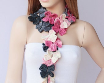 crochet lariat scarf ,flower scarf,crochet lariat necklace
