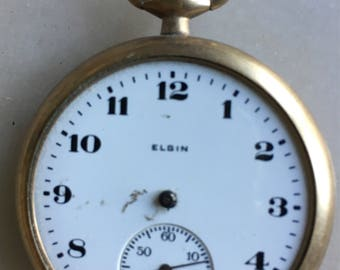 Antique 1915 Elgin Pocket Watch Without Handles and Glass for Parts/Upcycling / Gold Filled Case