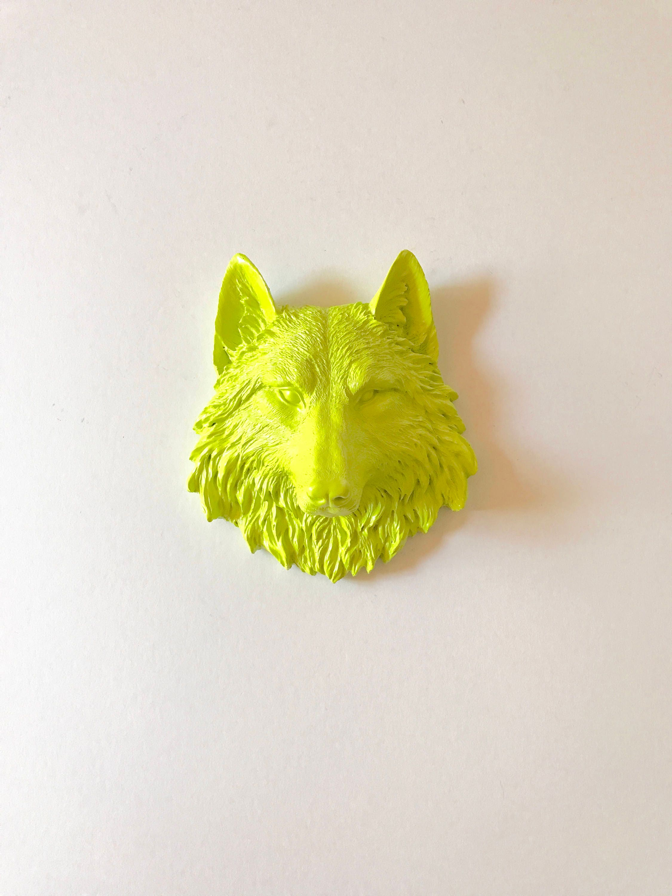 LIME GREEN Small Faux Wolf Head wall mount Faux Taxidermy wolf