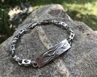 "Flame Bracelet Men's 8"" Sterling Silver Plaque And Really Unique Diamond Link Chain Bracelet Artist Made One Of A Kind Rockabilly"