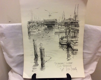 "Vintage 1977 Signed Lithograph Print, Art by Don Davey, ""Fisherman's Wharf"", Man Cave, San Francisco Collectible Print"
