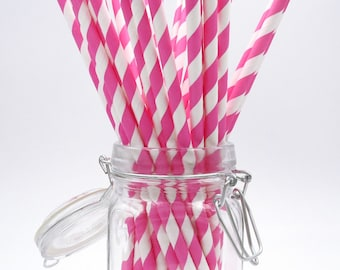 Pink Paper Straws. Striped Straws. Party Supplies. Drinkware.