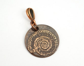 Small spiral nautilus shell pendant, round etched copper jewelry, optional necklace, 22mm