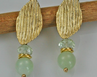Green Amethyst Jade Gold Earrings Dangle - UPDATED