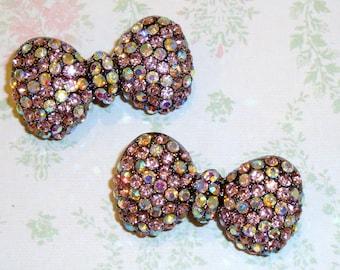 6 pcs- 35mm Black Metal Plated BOW Shaped Pink Rhinestone Brooch Pin - wedding / hair / dress / garment accessories / Flower Center