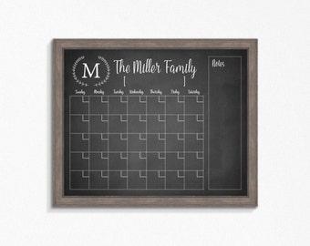 Chalkboard calendar etsy chalkboard calendar printable chalkboard dry erase cutomizable mulitple sizes available digital file saigontimesfo