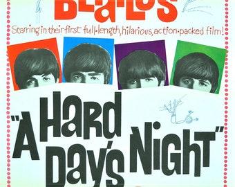 Vintage Beatles Hard Day's Night Movie Poster//Classic Movie Poster/Movie Poster//Poster Reprint//Home Decor//Wall Decor//Vintage Art