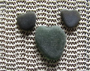 Green seaglass hearts