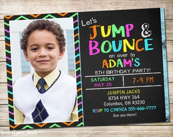 Bounce Party Invitation Bounce House Birthday Invitation Jump Party Trampoline Party
