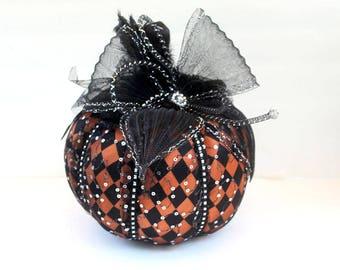 Small Halloween fabric pumpkin, orange and black pumpkins, Fabric pumpkins, party decoration, halloween pumpkin, pumpkin decorations